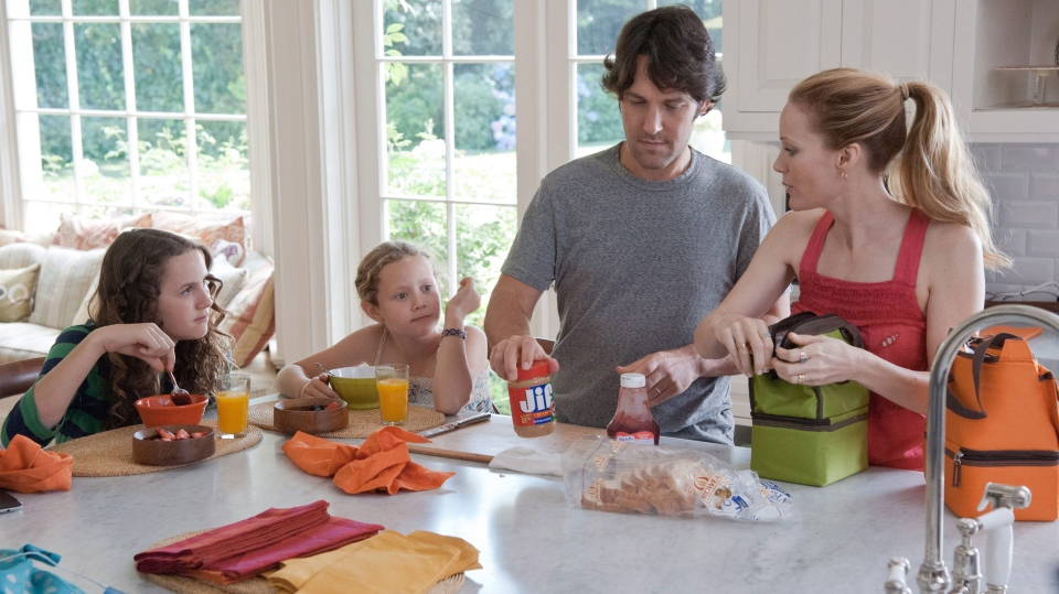 Maude Apatow, Iris Apatow, Paul Rudd and Leslie Mann in a scene from Universal Picture's 'This is 40.'