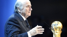 FIFA President Joseph Blatter speaks to the audience during the FIFA 2018 and 2022 soccer World Cup Announcement in Zurich, Switzerland, Thursday, Dec. 2, 2010. (AP / Keystone, Patrick B. Kraemer)
