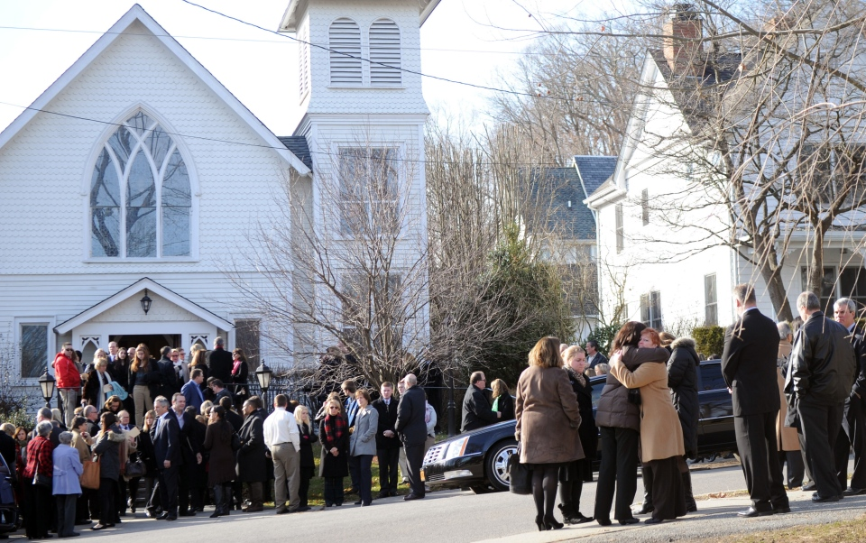 Mourners exit St. Mary Of The Assumption Church after the funeral of Anne Marie Murphy on Dec. 20, 2012 in Katonah, N.Y. (AP / The Stamford Advocate / Lindsay Niegelberg)