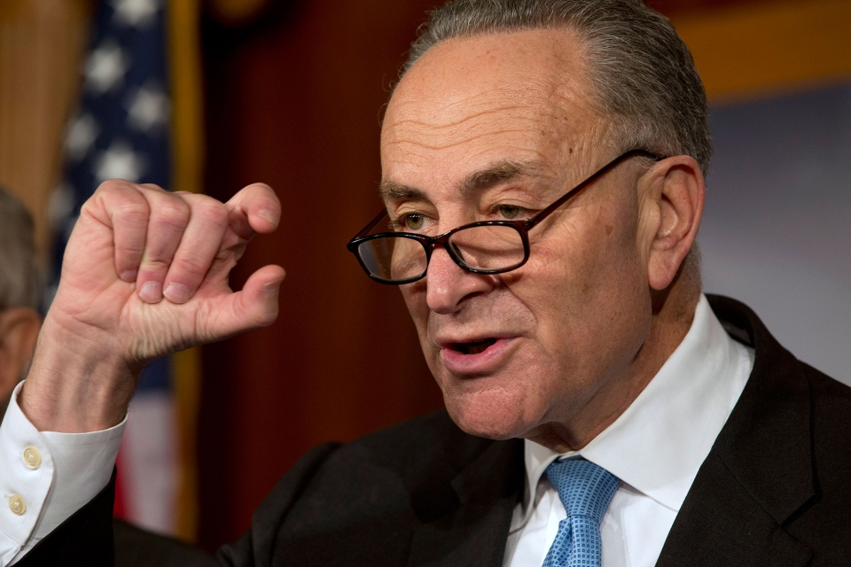 Sen. Charles Schumer, D-NY, gestures to show how close he says the Speaker and the President are to a deal on the fiscal cliff, during a news conference at the U.S. Capitol in Washington, on Thursday, Dec. 20, 2012. (AP / Jacquelyn Martin)
