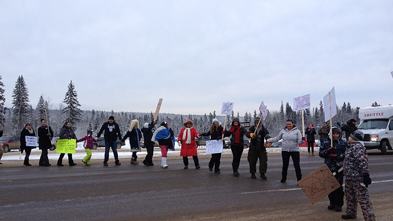 About 100 people took part in a road block on Highway 63 north of Fort McMurray on Thursday. It was the latest in a string of Idle No More rallies and demonstrations held locally and across Canada.