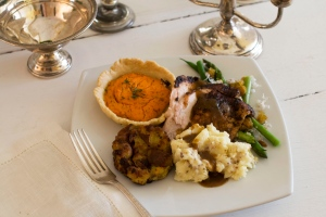 A gourmet holiday turkey dinner is shown in this October 2012 file photo. (AP Photo/Matthew Mead)