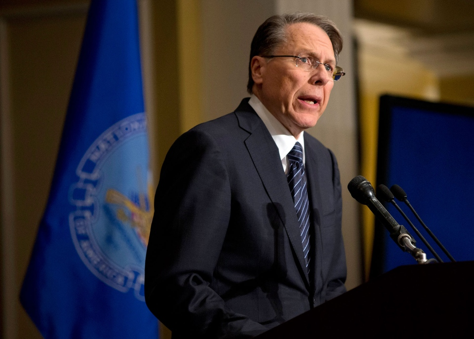 The National Rifle Association's executive vice president Wayne LaPierre speaks during a news conference in response to the Connecticut school shooting, in Washington, on Friday, Dec. 21, 2012. (AP / Evan Vucci)