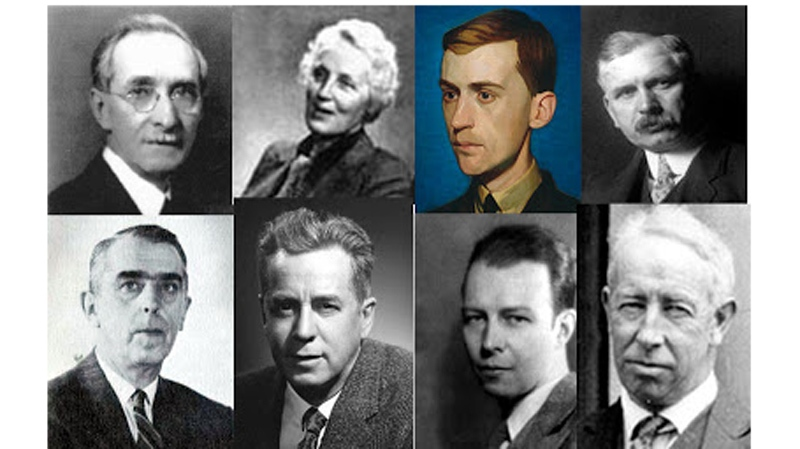 The EMSB stands to gain from the sale of artwork done by these artists: Top row from left to right: Frederick Simpson Coburn, Anne Savage, Thoreau MacDonald, George Horne Russell. Bottom row: Douglas Lawley, Lorne Holland Bouchard, Harold Beament, A.Y. Jackson