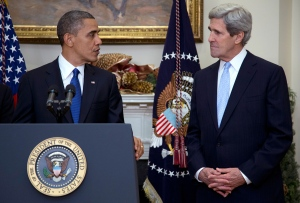 U.S. President Barack Obama looks to Sen. John Kerry, D-Mass., as he announces Kerry's nomination for the next secretary of state in the Roosevelt Room of the White House, in Washington, Friday, Dec. 21, 2012. (AP / Carolyn Kaster)