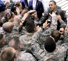 U.S. President Barack Obama greets troops at a rally during an unannounced visit at Bagram Air Field in Afghanistan, Friday, Dec. 3, 2010. (AP / Pablo Martinez Monsivais)