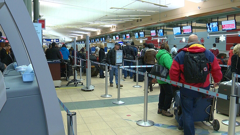 Lineups were a common sight in the Edmonton International Airport on Friday, December 21, during what was expected to be the busiest travel day of the holiday season.