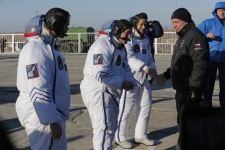 Chris Hadfield preparing for lift off