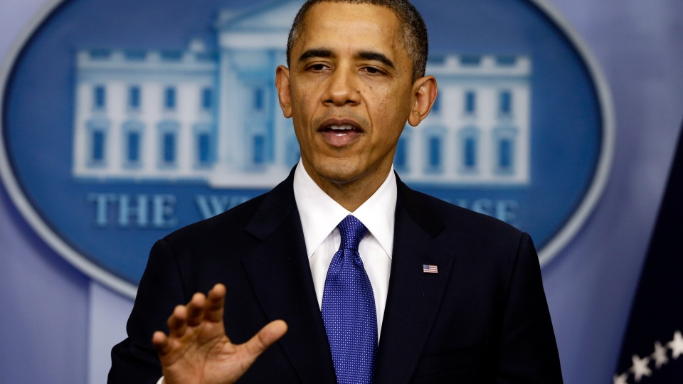 President Barack Obama speaks to reporters about the fiscal cliff in the Brady Press Briefing Room at the White House in Washington, Friday, Dec. 21, 2012. (AP / Charles Dharapak)
