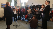 Kathy Dunderdale holds her first press conference in the Colonial Building in St. John's after being sworn in as the 10th as premier of N.L. on on Friday, Dec. 3, 2010. (Paul Daly / THE CANADIAN PRESS)