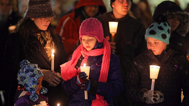 Friends, colleagues and supporters attend a vigil in memory of six year-old, Ana Marquez-Greene, a victim of last Fridays mass shooting in Newtown, Conn., on Monday December 17, 2012. (Trevor Hagan / THE CANADIAN PRESS)