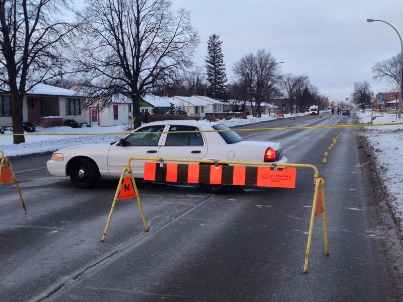 Winnipeg police closed a portion of Regent Avenue West Sunday morning following a serious crash.