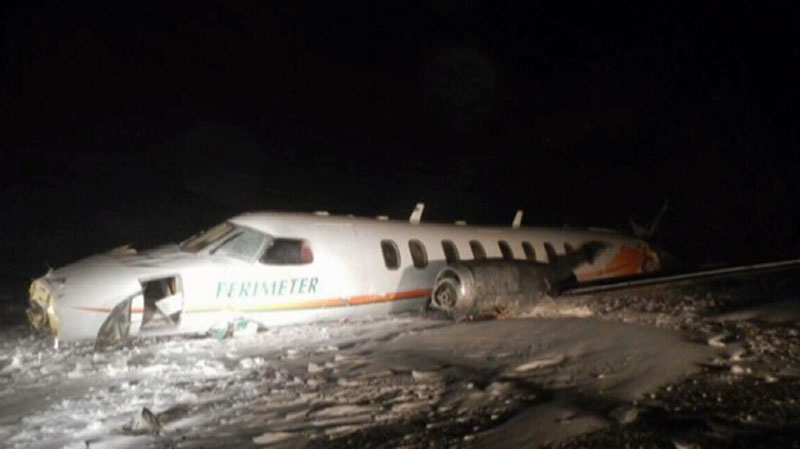 A chartered plane crashed, killing a 6-month-old baby and injuring eight other people in southern Nunavut, Saturday, Dec. 22, 2012.