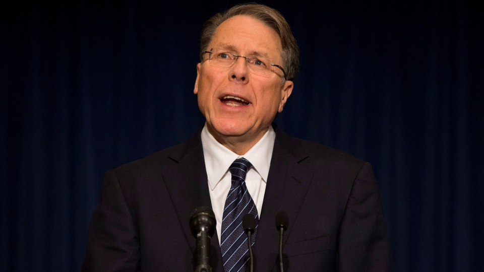 The National Rifle Association executive vice president Wayne LaPierre gestures during a news conference in response to the Connecticut school shooting on Friday, Dec. 21, 2012 in Washington. (AP /  Evan Vucci)