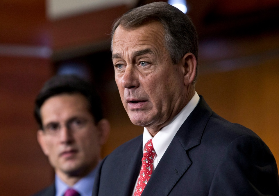 Speaker of the House John Boehner, R-Ohio, joined by House Majority Leader Eric Cantor, R-Va., speaks to reporters about the fiscal cliff negotiations at the Capitol in Washington, Friday, Dec. 21, 2012. (AP / J. Scott Applewhite)