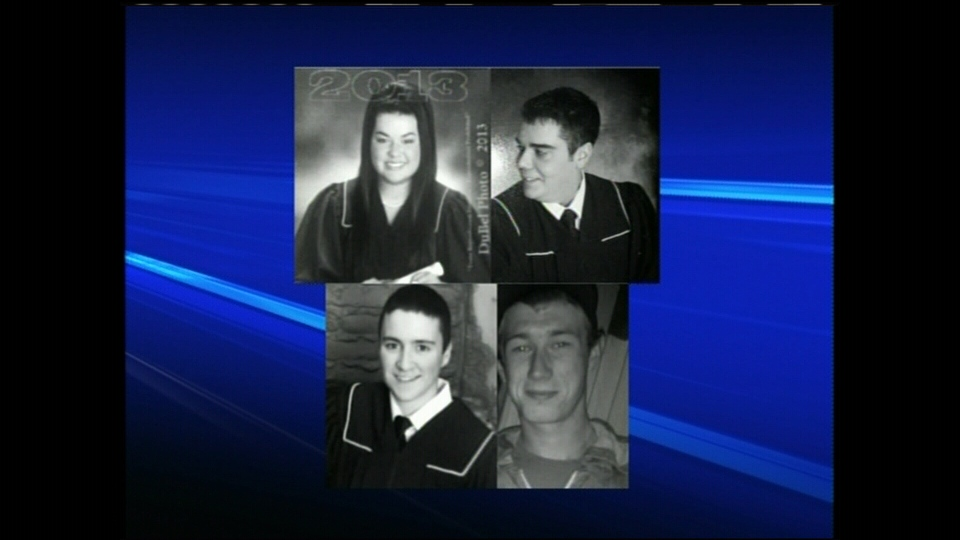 RCMP say Marie-Helene Gauvin, 17, top left, Alexandre McGraw, 20, top right, Tommy Losier, 18, bottom left, and Brian Basque, 19, bottom right, died near Tracadie-Sheila, N.B. on Saturday, Dec. 22, 2012.