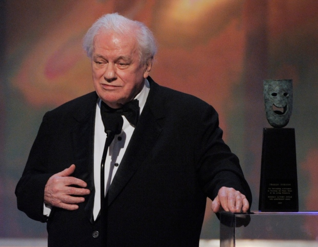 Actor Charles Durning accepts the life achievement award at the 14th Annual Screen Actors Guild Awards in Los Angeles in this Sunday, Jan. 27, 2008 file photo. (AP / Mark J. Terrill)