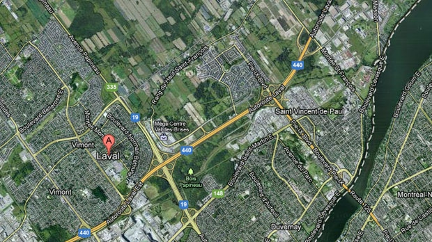 Laval, Quebec is shown on this Google Map.