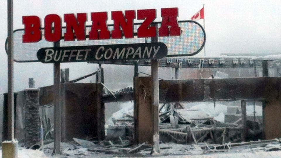 Early morning fire damaged Bonanza restaurant in Edmonton's north end on Tuesday, Dec. 25, 2012.