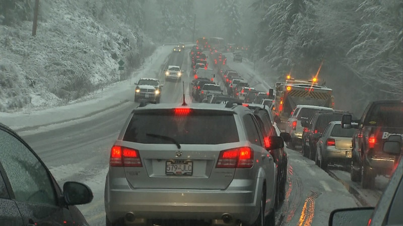 Snowy conditions on the Malahat Highway caused multiple collisions on Christmas day. December 25, 2012. (CTV)