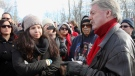 Sarnia Mayor Mike Bradley meets with people from Aamjiwnaang First Nation as a blockade of the CN St. Clair spur line that began Friday, continues in Sarnia, Ont., Sunday, December 23, 2012. (Dave Chidley / THE CANADIAN PRESS)