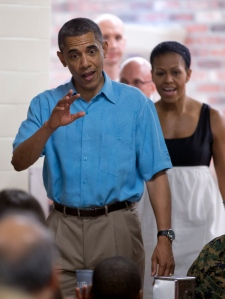 The Obamas at military base in Hawaii Dec. 25 2012