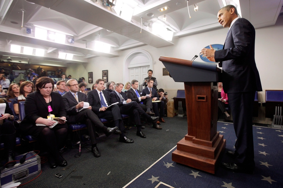 U.S. President Barack Obama speaks to reporters about the fiscal cliff in the Brady Press Briefing Room at the White House in Washington, Friday, Dec. 21, 2012. (AP / Charles Dharapak)