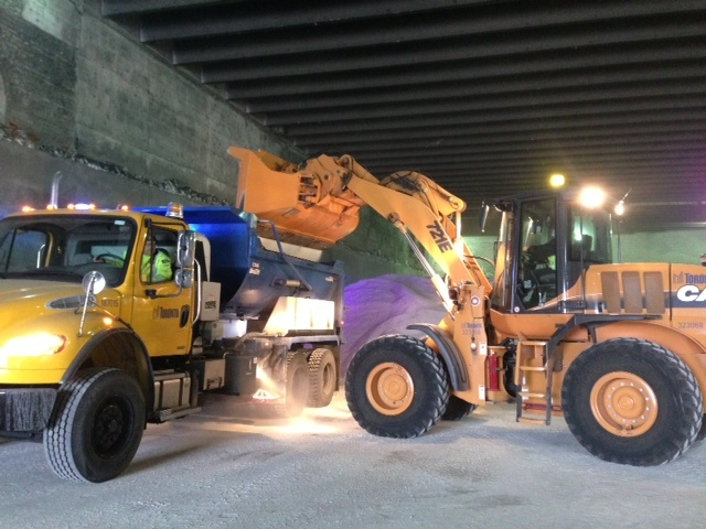 Crews with the City of Toronto load salt onto trucks in anticipation of a major winter storm expected to hit the Greater Toronto Area on Wednesday Dec. 26, 2012. (Zuraidah Alman/CTV Toronto)