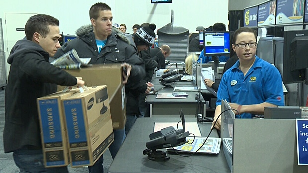 Shoppers turned out in droves to take in the deals at South Edmonton Common's Best Buy on Boxing Day.