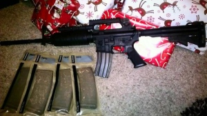 In this screenshot taken from Twitter on Dec. 26, 2012, a photo of a new gun from a Twitter user is pictured. (Photo courtesy Twitter)
