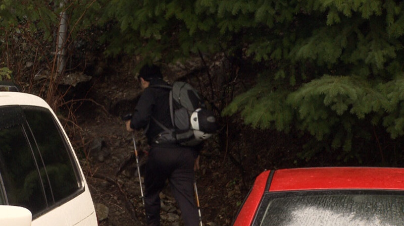 A hiker is seen heading towards a closed off area at Grouse Mountain on Wednesday. December 26, 2012. (CTV)