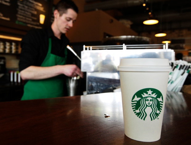 In this Friday, April 27, 2012, photo, a Starbucks