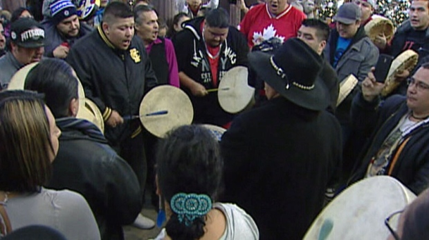 Idle No More demonstrators at St. Vital Centre