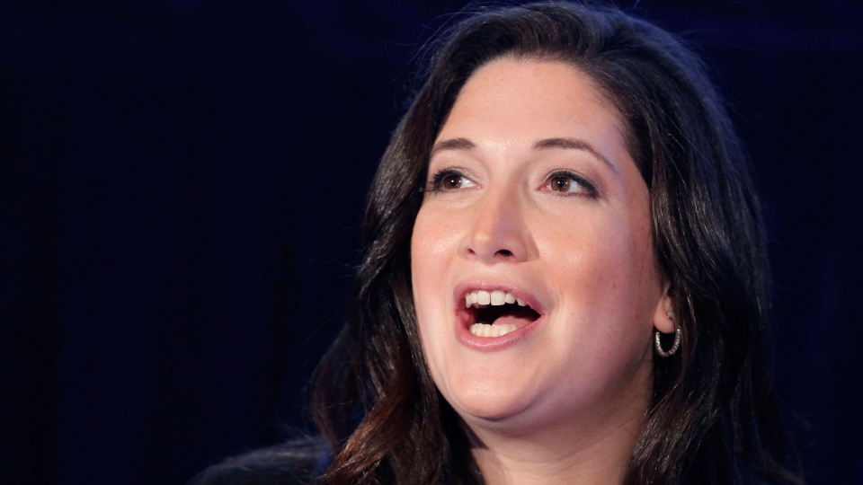 Randi Zuckerberg, former marketing director of Facebook and founder of RtoZ Media, speaks at the Executive Marketing Summit in New York on Oct. 4, 2011. (AP / Mark Lennihan, File)