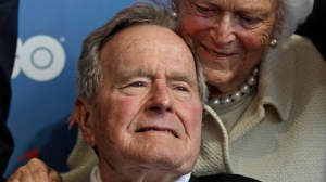 Former U.S. President George H.W. Bush and his wife, Barbara, arrive for the premiere of HBO's new documentary about his life in Kennebunkport, Maine June 12, 2012. (AP / Charles Krupa, File)