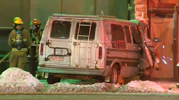 The driver of this van has died after his van slammed into the side of a building in southwest Calgary.