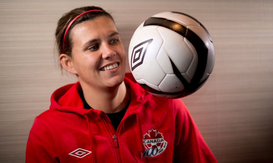 Canadian National Soccer team member Christine Sinclair poses for a photo in Richmond, B.C., on Tuesday, Dec. 18, 2012. (Jonathan Hayward / THE CANADIAN PRESS)