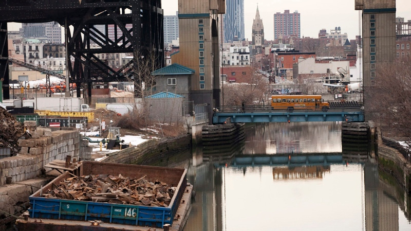 The Gowanus Canal, which was added to the Superfund National Priorities List in 2010 for being heavily contaminated with PCBs, heavy metals, volatile organics and coal tar wastes is shown on Tuesday, March 2, 2010. (AP / Mark Lennihan)