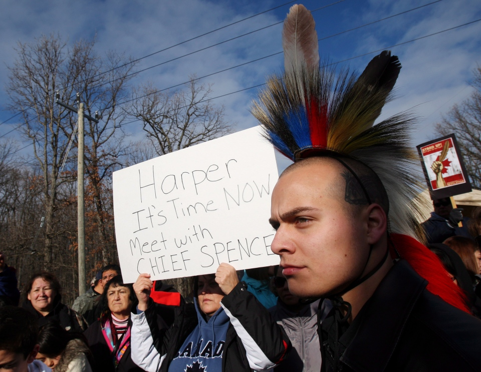 Alex Rogers wearing a Grass Dance head-dress stands in front of protest sign while people from Aamjiwnaang First Nation and supporters gather for a meeting with officials as their blockade of the CN St. Clair spur line that began Friday, continues in Sarnia, Ont., Sunday, Dec. 23, 2012. (Dave Chidley / THE CANADIAN PRESS)