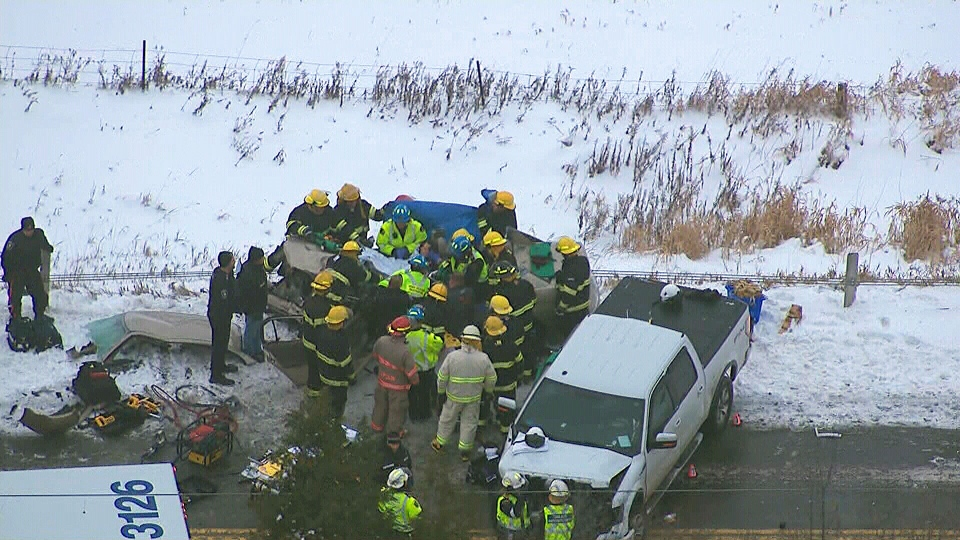 Emergency crews are shown at the scene of a serious head-on collision in East Gwillimbury, Ont. Thursday, Dec. 27, 2012.