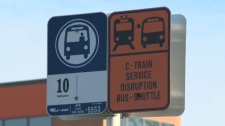 Chinook LRT shuttle bus sign