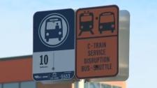 Chinook LRT shuttle bus sign