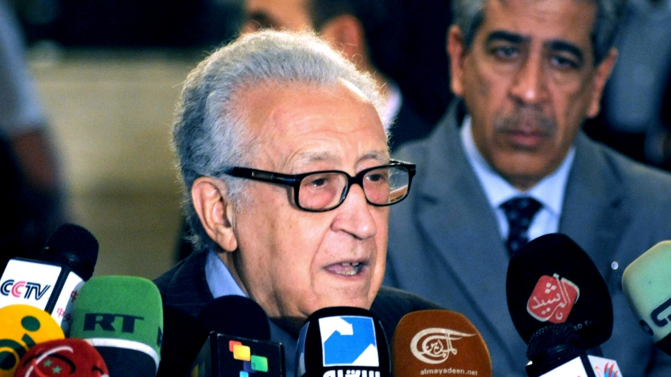 UN Arab League deputy to Syria, Lakhdar Brahimi, speaks during a press conference in Damascus, Syria, Thursday, Dec. 27, 2012. (AP / SANA)