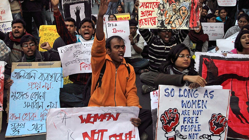 Indian students protesting against a recent gang-rape of a young woman in a moving bus in New Delhi, take out a rally in Kolkata, India, Thursday, Dec. 27, 2012.
