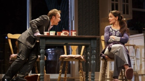 "This undated file photo provided by Boneau/Bryan-Brown shows Nobert Leo Butz as Jack, left, and Katie Holmes as Lorna, in a scene from ""Dead Accounts"" at Broadway's Music Box theatre in New York. (Boneau / Bryan-Brown, Joan Marcus, File)"