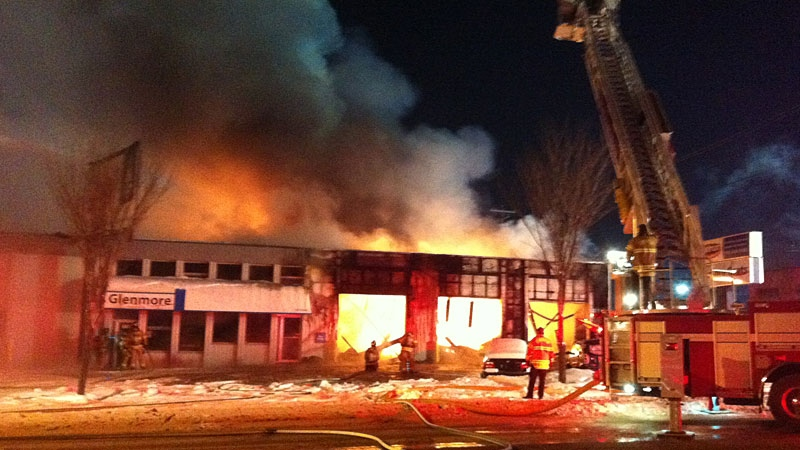A fire in south Edmonton Thursday night destroyed Lendrum Auto Services and Glenmore Boats on 104 Street near 65 Avenue.