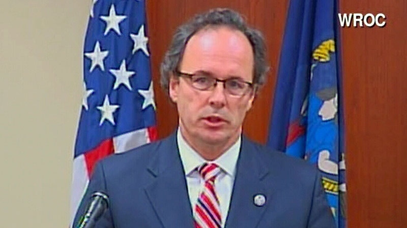 U.S. Attorney William J. Hochul speaks at a press conference on the woman charged in connection to the shooting of two firefighters, in Rochester, N.Y., Friday, Dec. 28, 2012.