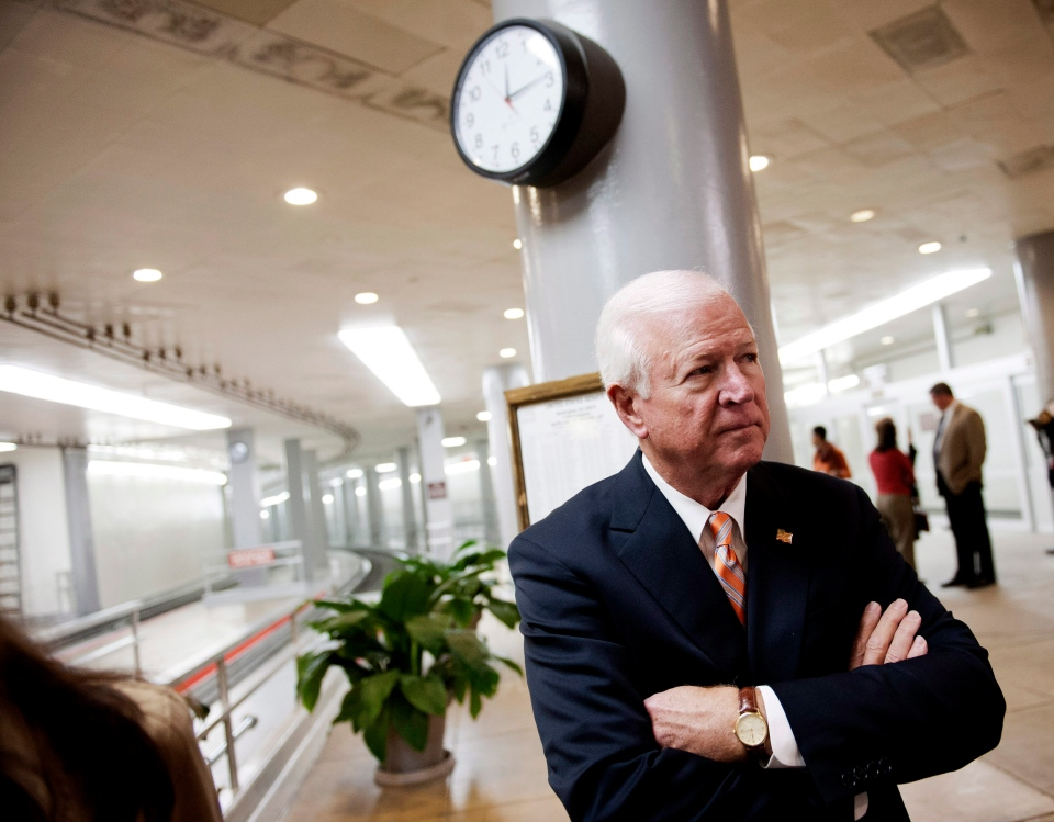 Senate Intelligence Committee Vice Chairman Sen. Saxby Chambliss, R-Ga. waits to speak with reporters on Capitol Hill in Washington, Friday, Nov. 16, 2012. (AP / Cliff Owen)