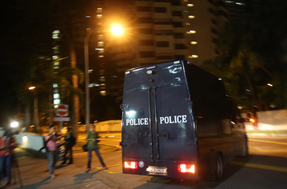 A police hearse leaves Mount Elizabeth Hospital in Singapore on Saturday Dec. 29, 2012.  (AP / Wong Maye-E)