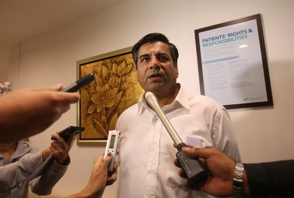 Indian High Commissioner to Singapore, T.C.A. Raghavan speaks to reporters about the death of a young Indian woman who was gang raped, at Mount Elizabeth Hospital in Singapore late on Saturday Dec. 29, 2012. (AP / Wong Maye-E)